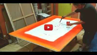 Préparation d'une toile : réalisation des fonds par Jean-Jacques Marie
